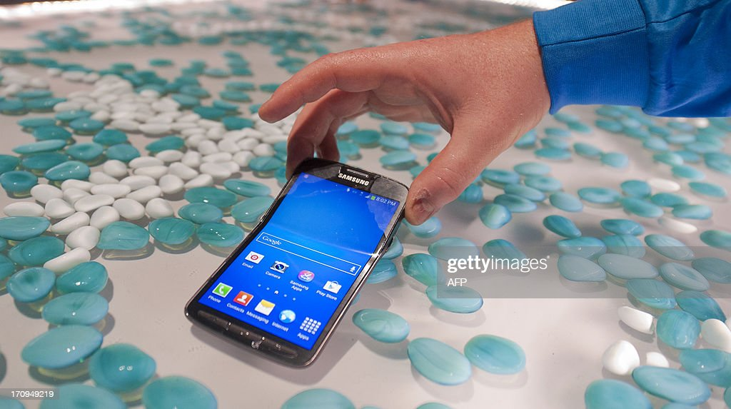 A picture showing the new Samsung S4 Active phone during the world launch of new Samsung Galaxy and Ativ products at Earls Court, London on June 20, 2013.