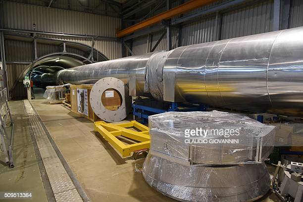 A picture shows a 3kmlong arm part of the Virgo detector for gravitational waves that is located within the site of EGO European Gravitational...