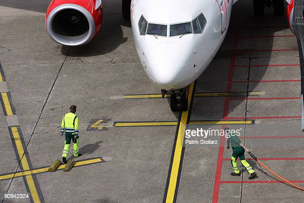 Picture shows a airplane of 'AirBerlin' arriving for a stop at the airport Duesseldorf on April 30 2008 in Duesseldorf Germany