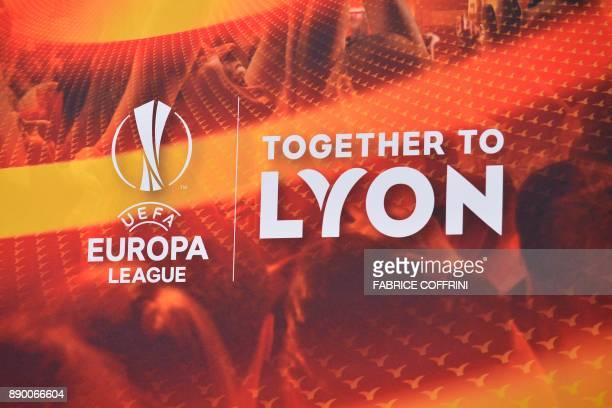 A picture shows a backdrop ahead of the draw for the round of 32 of the UEFA Europa League football tournament at the UEFA headquarters in Nyon on...