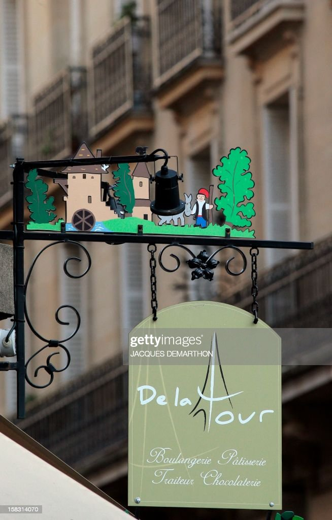 A picture shows a bakery's sign on December 12, 2012 in Paris' 16th district.