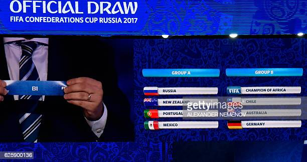 A picture shows a board displaying the results of the draw for the 2017 FIFA Confederations Cup a dress rehearsal for the 2018 World Cup at the...