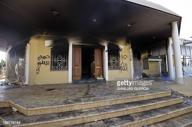 A picture shows a burnt building at the US consulate compound in the eastern Libyan city of Benghazi on September 13 2012 following an attack late on...