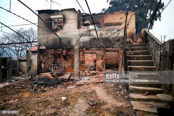 Picture shows a burnt house whose owner died destroyed during a wildfire at Pobrais Pedrogao Grande on June 19 2017 More than 1000 firefighters are...