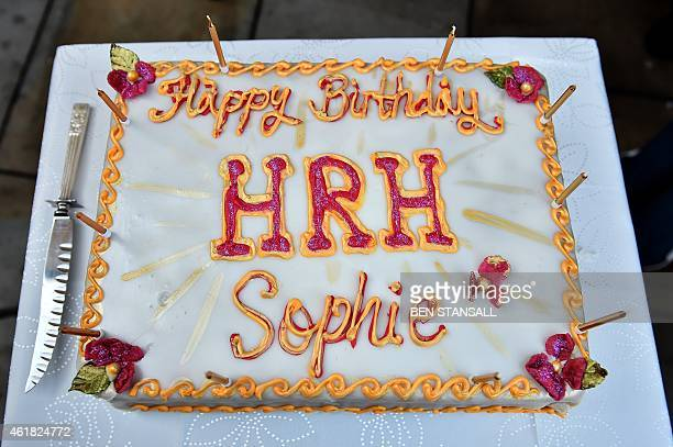 A picture shows a cake to be presented to Britain's Sophie Countess of Wessex on the occasion of her 50th birthday ahead of her and the Earl of...