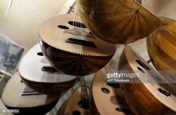 A picture shows a close up view of ouds an instrument Syria was once renowned for producing at a workshop in Tekkiyeh Sulamaniyeh in the capital...