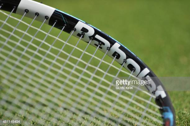 A picture shows a closeup of the racquet of France's Richard Gasquet between games against Australia's James Duckworth during their men's singles...