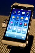 A picture shows a closeup view of the new touchscreen Z10 Blackberry device at one of eight simultaneous worldwide events for the launch of the...