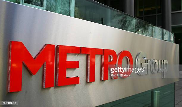 Picture shows a company display in front of the headquarter of the Metro Group on March 18 2008 in Duesseldorf Germany The Metro Group announced for...