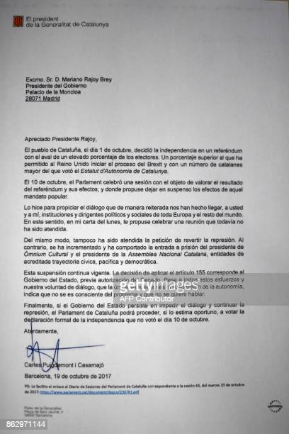 Picture shows a copy of the letter sent by Catalan regional government president Carles Puigdemont to Spanish Prime Minister Mariano Rajoy on October...