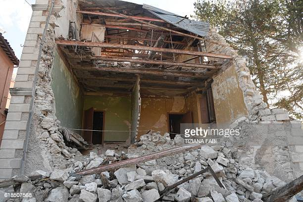 A picture shows a destroyed house in the village of Borgo Sant'Antonio hit by earthquakes on October 27 2016 near Visso central Italy Twin...