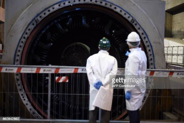 A picture shows a dismanteled turbine of the Garigliano Nuclear Power Plant located at the outskirts of Sessa Aurunca 160km southern Rome on October...