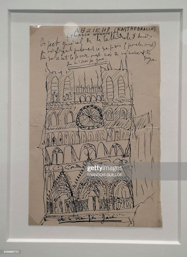 A picture shows a drawing of the Cathedral of Amiens by French writer Marcel Proust during the presentation of Proust's personal archives ahead of an auction at Sotheby's in Paris, on May 30, 2016. / AFP / FRANCOIS