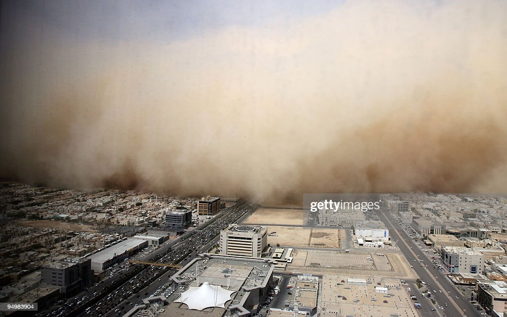 A picture shows a dust cloud enveloping the Saudi capital Riyadh on March 10 2009 AFP PHOTO/STR