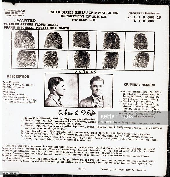 6/23/1934 Picture shows a FBI circular describing the infamous band robber Charles 'Pretty Boy' Floyd