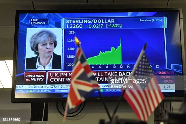 TOPSHOT A picture shows a financial graph on a television screen showing the movement of the foreign exchange rate of the British pound against the...