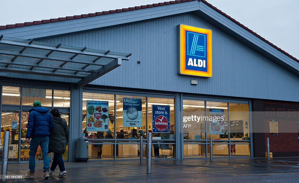 A picture shows a general view of a branch of British food retailer Aldi in London on February 9, 2013. The British supermarket chain Aldi voiced anger on February 8 after finding that two of its own brand frozen ready meal ranges -- beef lasagne and spaghetti bolognese -- contained between 30 and 100 percent horsemeat. The meals were all produced in Luxembourg for French supplier Comigel, which said the horsemeat used originally came from a Romanian abattoir via a meat-processing firm called Spanghero in southwest France. AFP PHOTO / WILL OLIVER