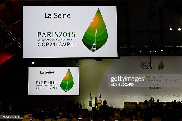 A picture shows a general view of a conference room on the opening day of the COP 21 United Nations conference on climate change on November 30 2015...