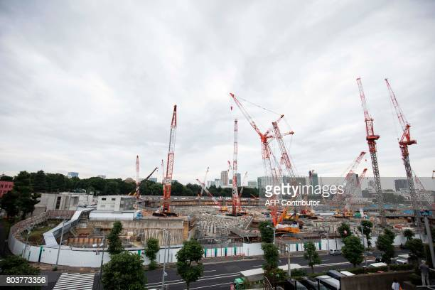 Picture shows a general view of the construction site for the National Stadium venue for the upcoming Tokyo 2020 Olympics in Tokyo on June 30 2017...