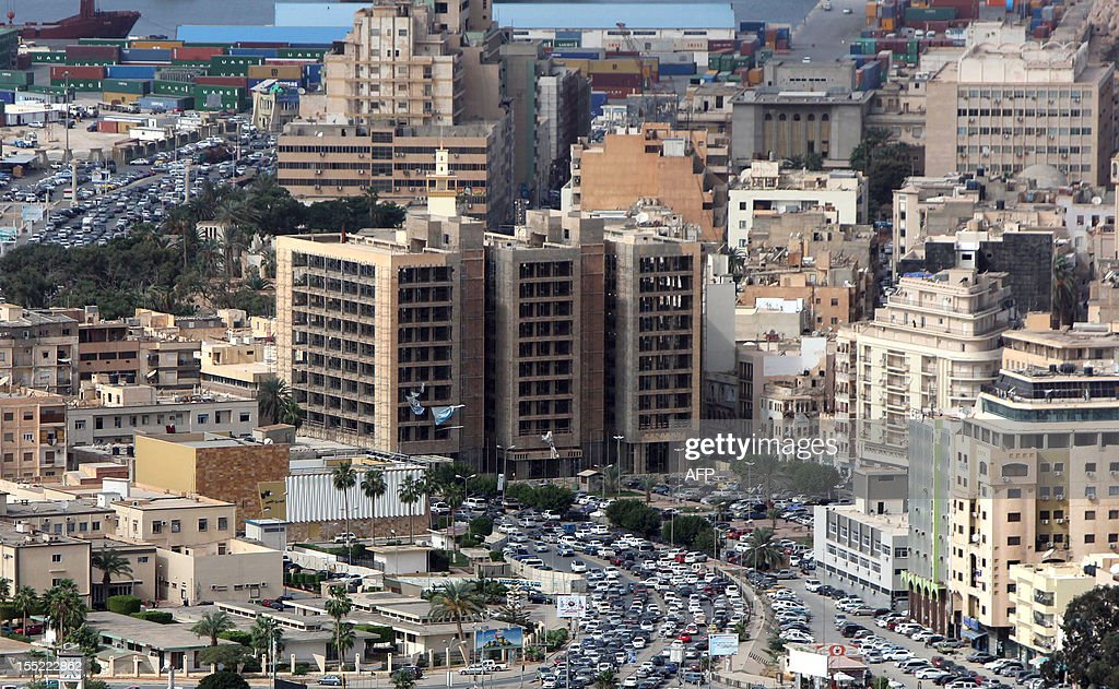Picture shows a general view of the eastern Libyan port city of Benghazi on the Mediterranean Sea on November 1, 2012. AFP PHOTO/ABDULLAH DOMA