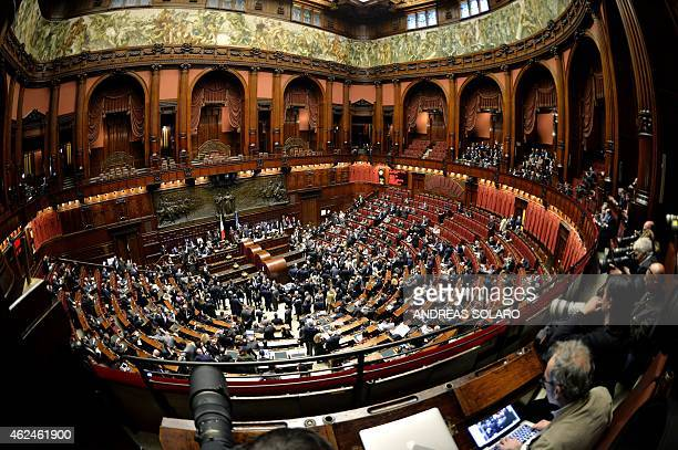 A picture shows a general view of the Italian Parliament in Rome on January 29 at the start of a vote to select a new president after former...