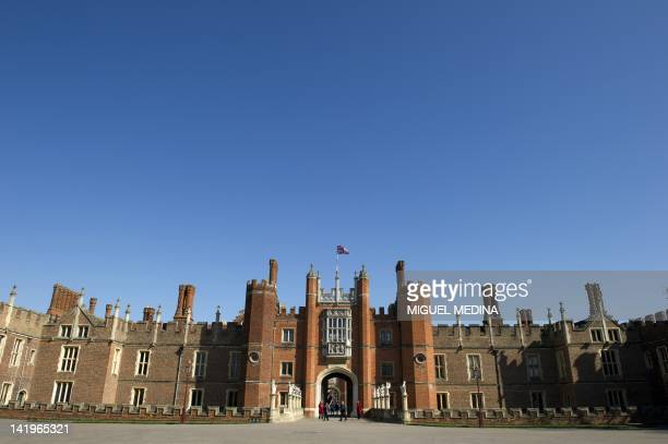 A picture shows a general view of the main entrance of the Hampton Court Palace in East Molesey south west London on March 27 2012 AFP PHOTO/ MIGUEL...