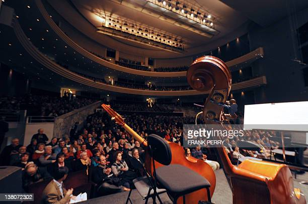 A picture shows a general view taken from the stage before the start of the performance of Ural Philharmonic Orchestra in Nantes western France on...