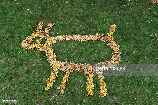 Picture shows a goat made with fallen leaves by a dustman at a residential area on December 8 2015 in Chengdu Sichuan Province of China 52yearold...