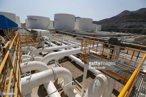 A picture shows a Gulf Petrochem storage terminal on the coast of the strategic emirate of Fujeirah on the Arabian sea outside the Strait of Hormuz...