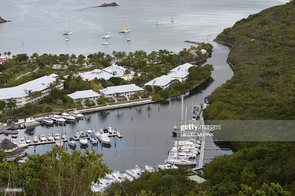 A picture shows a harbour in the Caribbean island of Saint Martin on October 19, 2013.