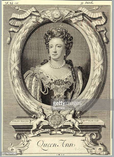 Picture shows a head and shoulders portrait of Queen Ann of England Engraving
