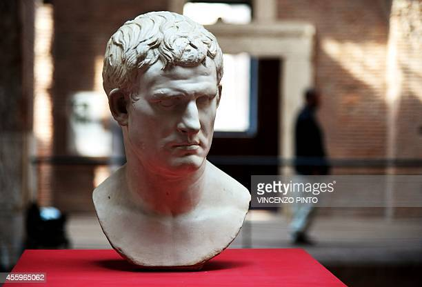 A picture shows a head of Marcus Vipsanius Agrippa a Roman statesman and general at the Trajan's Market museum on September 23 2014 in Rome where the...