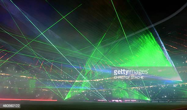 Picture shows a laser show presented after the German first division Bundesliga football match FC Bayern Munich vs SC Freiburg in Munich southern...