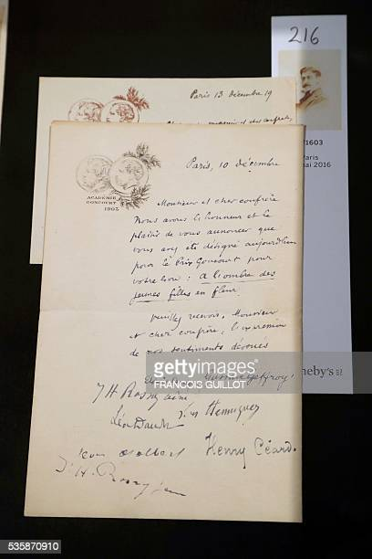 A picture shows a letter from the Goncourt Academy written in 1919 to French writer Marcel Proust to announce he is awarded the French literary prize...