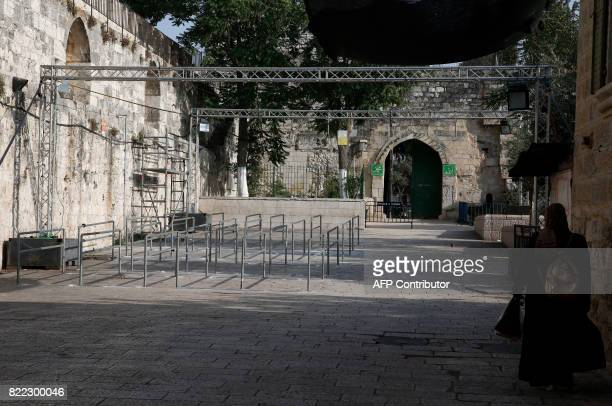 A picture shows a main entrance to the AlAqsa mosque compound in Jerusalem's Old City after Israeli security forces removed metal detectors from the...