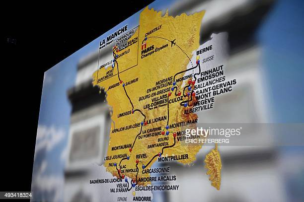 A picture shows a map showing the official route of the 2016 Tour de France cycling race which will run from July 2 to 24 2016 during the official...