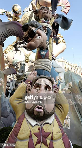 Picture shows a 'ninot' representing President of proindependence Esquerra Republicana political party Oriol Junquera regional president of Catalonia...
