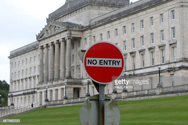 A picture shows a no entry sign on the access road to the Stormont Parliament Buildings the seat of the Northern Ireland Assembly in Belfast Northern...