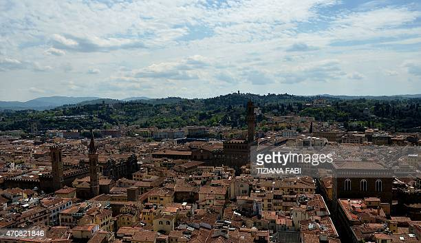 A picture shows a panoramic view of Florence from Giotto's bell tower on April 23 2015 with the tower of the 'Palazzo Vecchio' which houses the city...