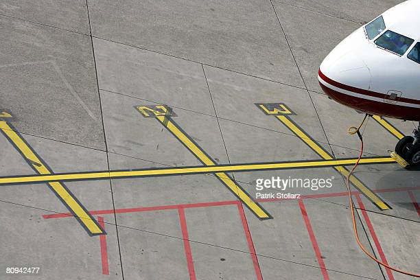 Picture shows a parking airplane at the airport in Duesseldorf on April 30 2008 in Duesseldorf Germany