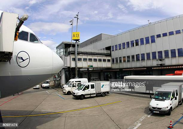 Picture shows a parking Lufthansa Airbus A340 at the airport Duesseldorf on April 30 2008 in Duesseldorf Germany