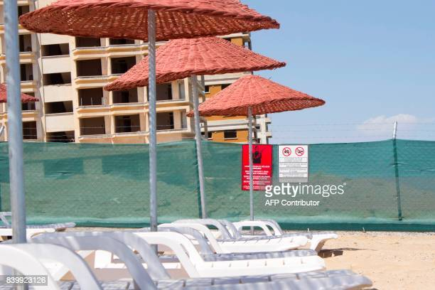 A picture shows a part of Derinya beach close to the fencedoff touristic area of Varosha in the eastern port city of Famagusta in the selfproclaimed...