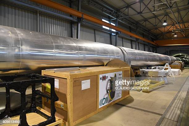 A picture shows a part of the 3kmlong arm of the Virgo detector for gravitional waves located within the site of EGO European Gravitational...