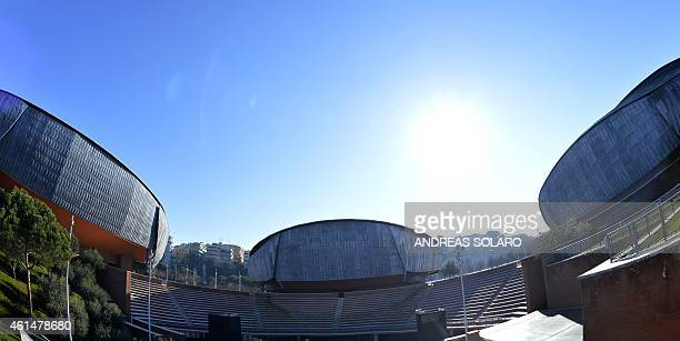 A picture shows a part of the auditorium Parco Della Musica designed by Italian architect Renzo Piano on January 13 2015 in Rome The three large...