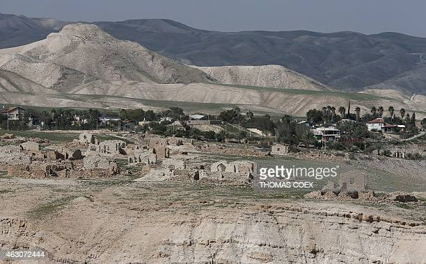 A picture shows a partial view of the Israeli settlement of Vered Yericho taken from outside of the West Bank City of Jericho on February 9 2015...