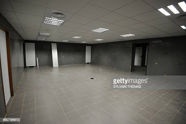 A picture shows a partial view of the locker rooms at the Stade de la Mosson football stadium home of Ligue 1 club Montpellier on December 23 2014...