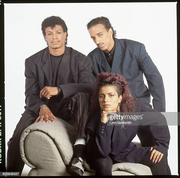 1990 Picture shows a picture of the pop group Lisa Lisa Cult Jam posing in a studio on a chair together