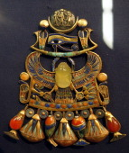 A picture shows a piece of jewellery recovered from Tutankhamen's tomb that is exhibited in the Egyptian Museum in Cairo 22 October 2007 The pectoral...