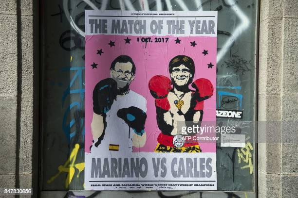 Picture shows a poster showing Spanish Prime Minister Mariano Rajoy and President of the Catalan Government Carles Puigdemont on September 16 2017 in...