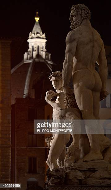 A picture shows a reproduction of 'David' the famous sculpture by Italian artist Michelangelo at the Palazzo Vecchio Florence's town hall on May 20...